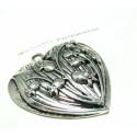 1 magnifique pendentif grand coeur rétro vintage viel argent