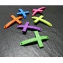 1 pendentif connecteur croix vert fluo