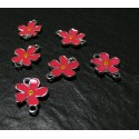 2 pendentifs connecteur fleur rose fushia