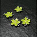 2 pendentifs connecteur fleur jaune fluo