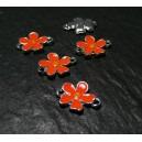 2 pendentifs connecteur fleur orange fluo