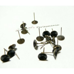10 Supports de Boucle d'oreille clou conique 8mm BR ref 8268