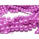 30 perles de verre nacre rose 6mm ref MM114