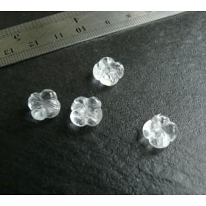 2 perles de cristal de roche fleur