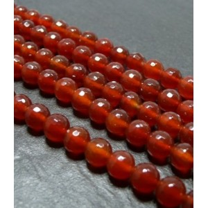 10 perles cornaline facetée 8mm