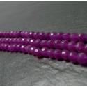 10 perles jade fushia facetée6mm