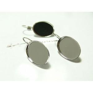 Apprêt bijoux 4 Supports de BO arg round 13 par 18 mm qualité