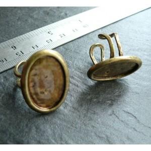 2 pieces bronze oval BIG bague 25 par18