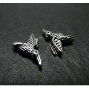 2 pieces breloque l'oiseau du paradis Argent
