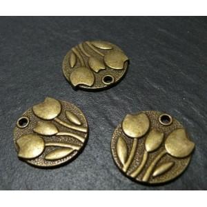 2 breloques bronze 3 fleurs