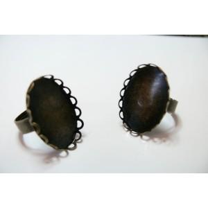 10 bagues ovale bronze vague 18 par 25