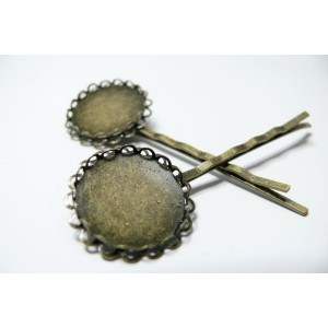 2 barrettes ronde double vague bronze 20mm
