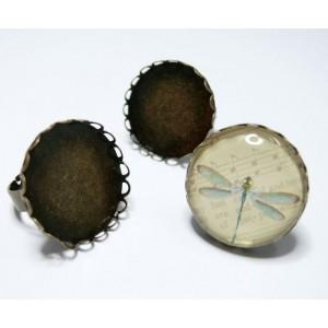 5 bagues rondes bronze vague 20MM