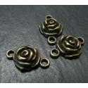 2 Supports de pendentif connecteur bronze Ma rose