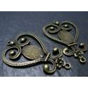 1 Support de pendentif  bronze cabochon coeur et volutes
