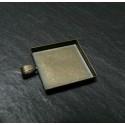 5 Supports de pendentif carre 25mm bord épais bronze