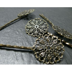 2 barettes fleur plates Bronze
