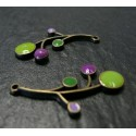 2 Supports de pendentif fleurs colorées