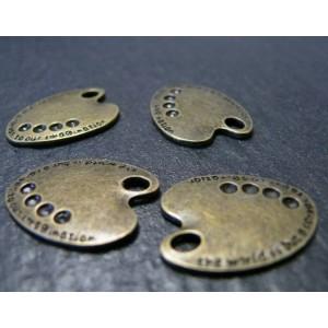 2 pieces breloques bronze peinture