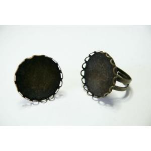 5 bagues rondes bronze vague 20MM A anneau double qualité