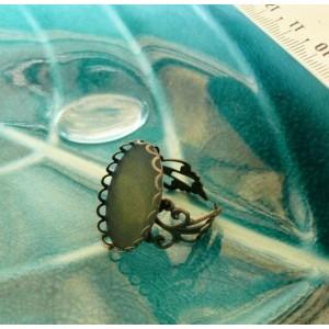 20 pieces 10 Supports de bague anneau dentelle 25 par 18mm camé bronze et 10 cab A
