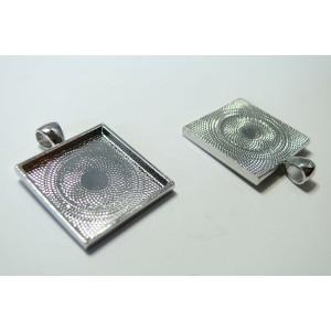 1 Support de pendentif carre 25mm argent qualité extra