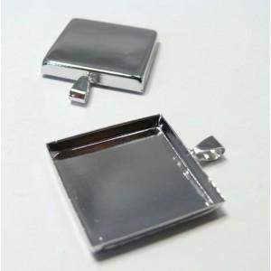 2 Supports de pendentif carre 25mm PP bord épais
