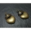 2 breloque bronze couronne A
