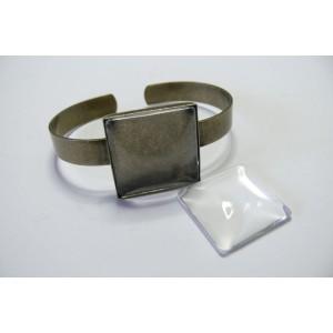 2 pièces: 1 piece Support de Bracelet bronze Carre et 1 cabochon