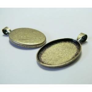 10 Supports de pendentif oval 18 par 25mm camé cabochon bronze A