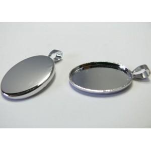 1 Support de pendentif oval 18 par 25mm camé cabochon argent