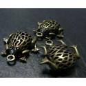 1 piece bronze très jolie grenouille 3D A