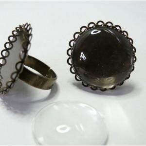 10 pièces: 5bagues 25mm bronze double vague et 5 cab