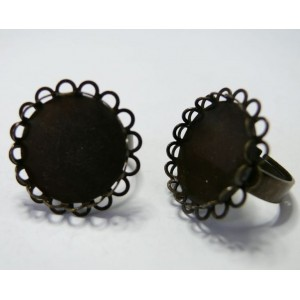 10 bagues 20mm bronze double vague
