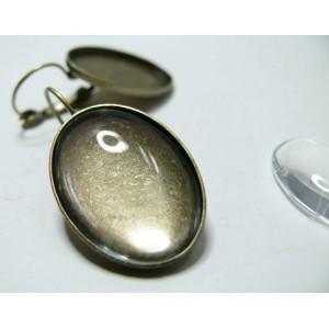 8 pièces: 4 Supports de BO bronze quality 25 par 18 mm et 4 cabocho