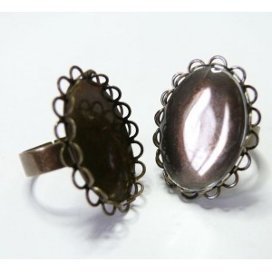 10 pièces: 5 bagues 1825mm bronze double vague et 5 cabochons
