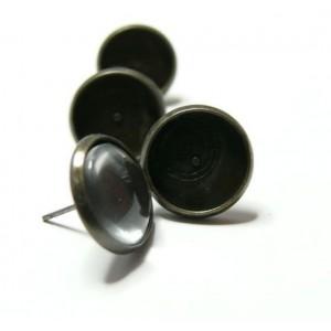 20 pièces: 10 Supports de BO bronze  12mm  puce et 10 cabochons