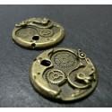 2 breloques bronze engrenage ref A15823
