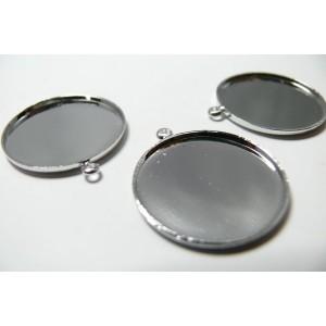 6 Supports de pendentif rond 15mm metal argent  qualité