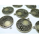 10 pièces pendentif rond fleur ref 238