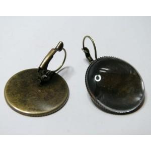 4 pièce: 2 Supports BO de 25mm plateau bronze et 2 cabochons