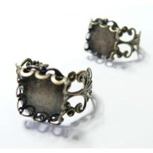 1 Support de bague  bronze carré vague 12mm anneau dentelle