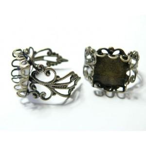 5 Supports de bague bronze carré vague12mm anneau dentelle