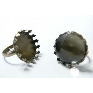 20 pièces:10 Supports de bague bronze ronde 20mm Couronne et 10 cab