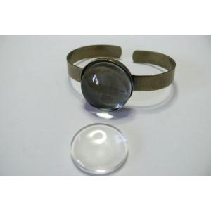 2 pieces: 1 Support de Bracelet BR rond épais et 1 cabochon