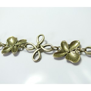 20 cm Bronze chaine fleur ref 203