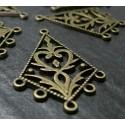 10 breloques bronze Connecteur Arabesque losange ref 73