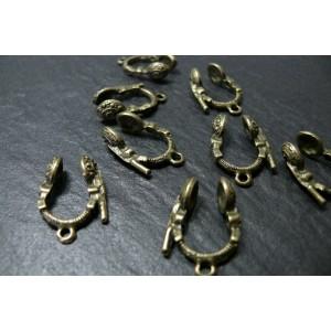 6 pieces breloques écouteurs bronze