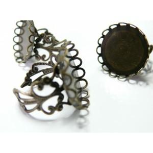 5 Supports de bague 25 mm vague bronze  dentelle