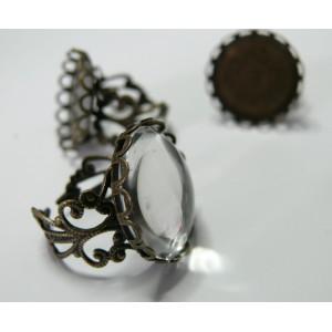 10 pièces: 5 Supports de bague 25 mm vague bronze  dentelle et 5 cab